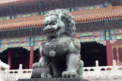 Stone lion. In from of the Palace in Beijing Stock Photos