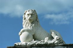 Stone lion. Park Arkhangelskoe. Moscow suburb Royalty Free Stock Image