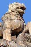 Stone Lion At Bhaktapur Durbar Square Royalty Free Stock Photos