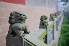 Stone lion balustrade,China royalty free stock image