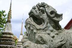 Stone Lion in the Cassical thai architecture wat pho public temple - Bangkok,Thailand Stock Photography