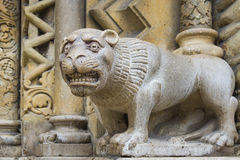 Stone lion (a decorative element of the building) Royalty Free Stock Photo