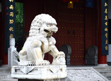 Stone lion by door Royalty Free Stock Photography