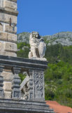 Stone lion with emblem. Balcony of museum, coast of Perast in Bay of Kotor, Montenegro, coast of Perast in Bay of Kotor, Montenegro Stock Photography