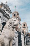 Stone Lion at the entrance of the Arsenal in Venice, Italy royalty free stock images