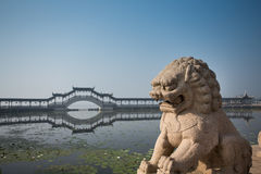 Stone lion. A stone lion in a Famous water village Jinxi in Jiangsu ,China Royalty Free Stock Images