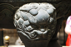 Stone lion in Forbidden City royalty free stock photos