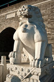 A stone lion in front of ancient tower Stock Image
