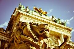 Stone lion guard vintage foto Royalty Free Stock Image