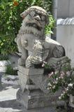 Stone lion guarding royal temple. Antique Chinese style stone lion with full decoration at Wat Mahapruetaram, Bangkok , Thailand Stock Photo