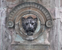 Stone lion head - Mexican fountain decoration Stock Photography