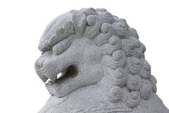 Stone lion heads. Lion made of stone, located in up and down stairs is very durable stock photos