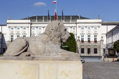 Stone lion and the Presidential Palace Stock Image