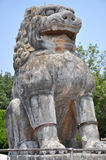 Stone Lion at Qianling Mausoleum. The Qianling Mausoleum is a Tang Dynasty (618–907) tomb site located in Qian County, Shanxi province, China.It includes stock photos