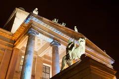 Stone Lion Roar at Night. Detail of Schauspielhaus Theatre and Concert Hall at Berlin's Gendarmenmarkt at Night Stock Image