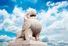 Stone Lion sculpture. Symbol of protection & power in Oriental Asia especially China Royalty Free Stock Images