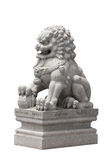 Stone lion sculpture Chinese style on white background Stock Photo