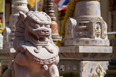 Stone Lion sculpture, symbol of Chinese belief as property guard Royalty Free Stock Photos
