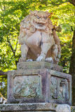 Stone Lion Sculpture at Yasaka-jinja in Kyoto Stock Photo