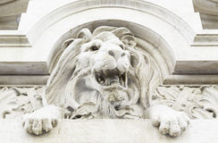 Stone lion statue. Detail of a statue carved in stone, art royalty free stock image