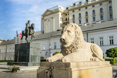 Stone Lion statue in front of the Presidential Palace, Warsaw Stock Image