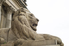 Stone lion statue outside classical building Stock Images