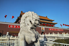 The stone lion statue and Tiananmen tower Stock Photo