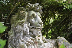 Stone Lion Statue in Wales Stock Photo