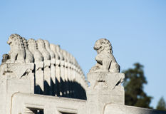 The stone lion statues. On the Seventeen Hole Bridge, Summer Palace of Beijing stock images