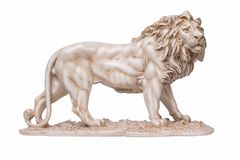 Stone lion statuettes, right view. Lion stone statuettes isolated on white background Royalty Free Stock Image