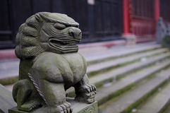Stone lion and steps before building royalty free stock images