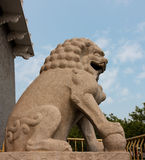 Stone Lion, Symbol of Power. A stone lion guards the passage from Qianmen Street to the Arrow Tower Stock Images