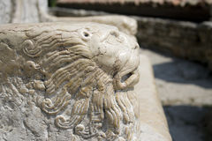 Stone lion in the throne Stock Images