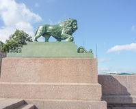 Stone lion on the waterfront. In Sankt-Petersburg Royalty Free Stock Photo