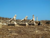 Stone lions of Delos Stock Images