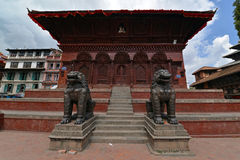Stone lions in Durbar square, Patan, Nepal Stock Image