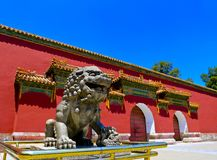Stone lions guarding the gate Royalty Free Stock Image