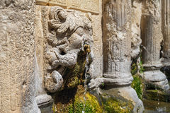 Stone lions head of Rimondi Fountain stock photos