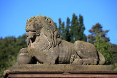 Stone lions in the mountain park Wilhelmshoehe in Cassel Royalty Free Stock Image