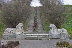 Stone lions in Olesko castle park Stock Image