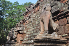 Stone lions at Phimeanakas temple ,Cambodia stock photography