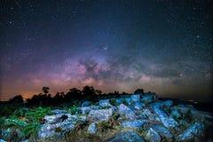 Stone lodge on night sky stars background Royalty Free Stock Photos