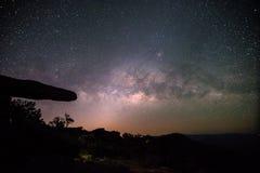 Stone lodge on night sky stars background Stock Image