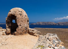 Stone Loophole Fortification Gramvousa above Sea. Crete. Greece Stock Photography
