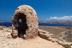 Stone Loophole Fortification Gramvousa above Sea. Crete. Greece Stock Photo