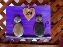 Love cats stones. Stone love cats picture Royalty Free Stock Images