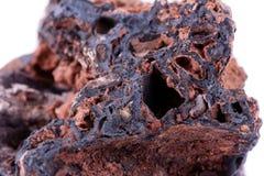 Stone macro mineral goethite on a white background. Close up Royalty Free Stock Images