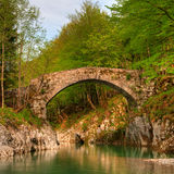 Stone made old footbridge in the forest Royalty Free Stock Photos
