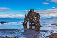 Stone. `mammoth` Iceland. Remains of an ancient extinct volcano Hvitserkur on the sea shelf Royalty Free Stock Photos