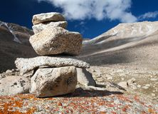 Stone man on mountains Royalty Free Stock Photos